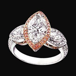 3 ct. marquise diamonds ring 3 stone two tone gold